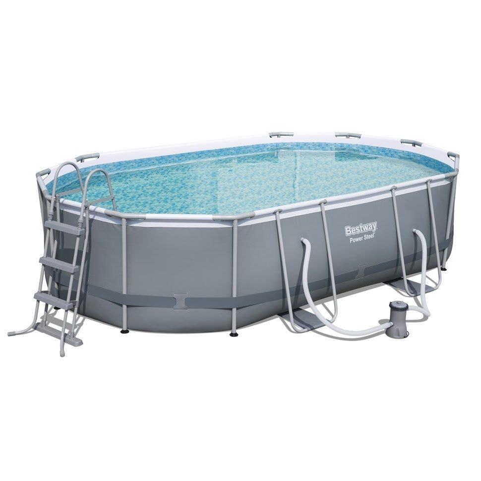 bestway 16ft x 10ft x 42 power steel oval swimming pool