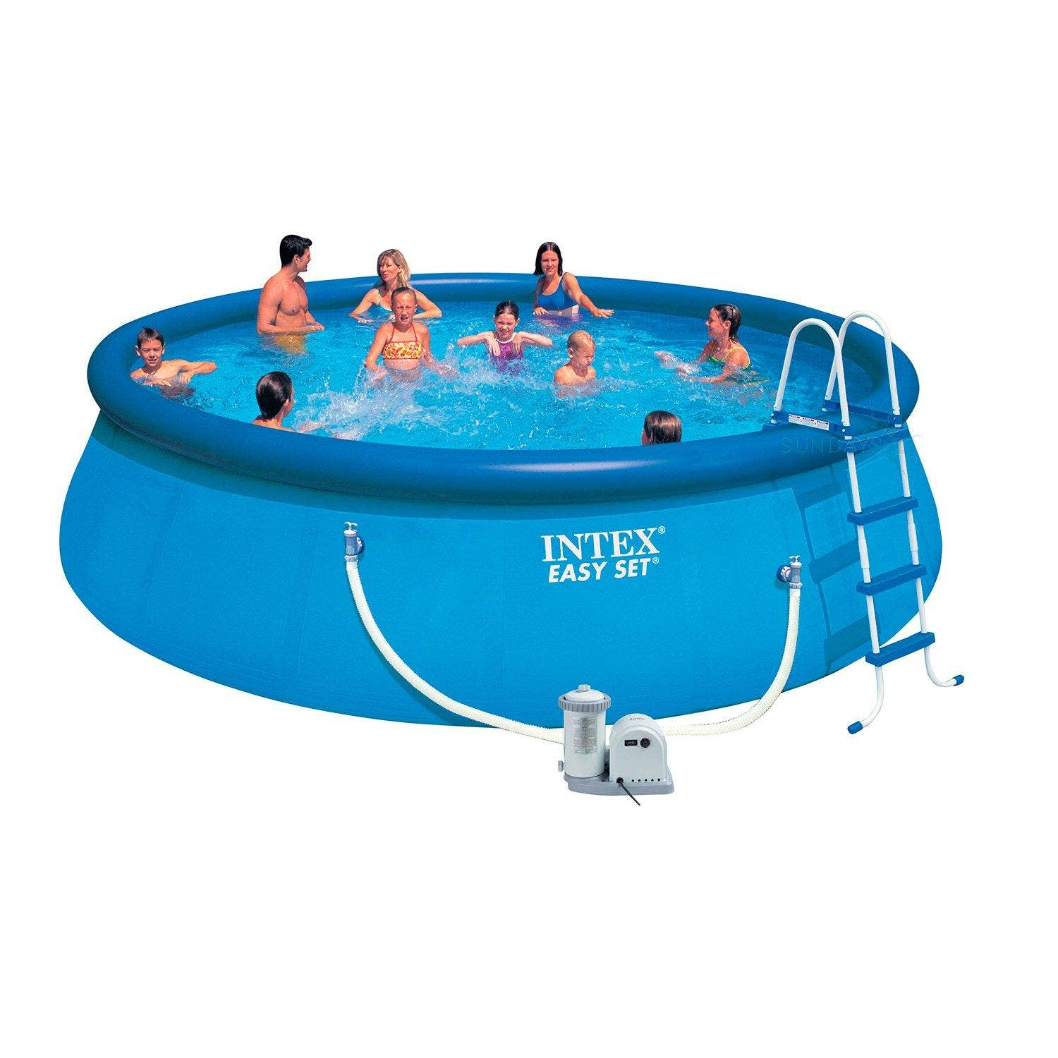 intex 18ft x 48 easy set swimming pool with filter pump. Black Bedroom Furniture Sets. Home Design Ideas